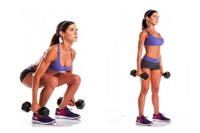 упражнений для стройных ног с гантелями